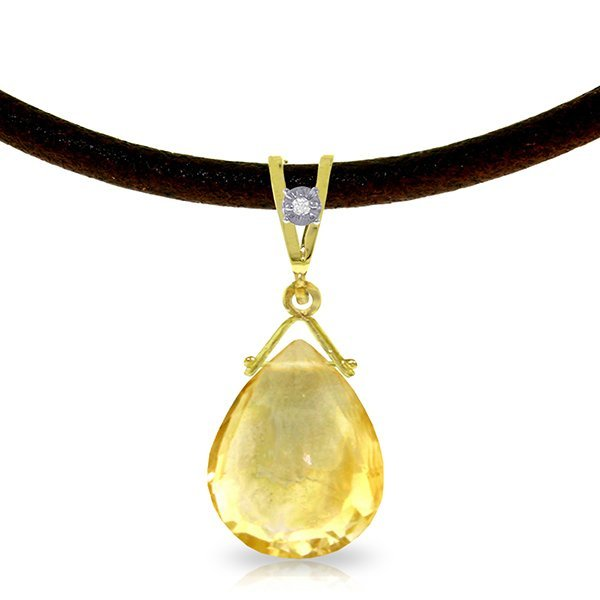 14K Solid Gold 6.50ct Citrine & Diamond Necklace