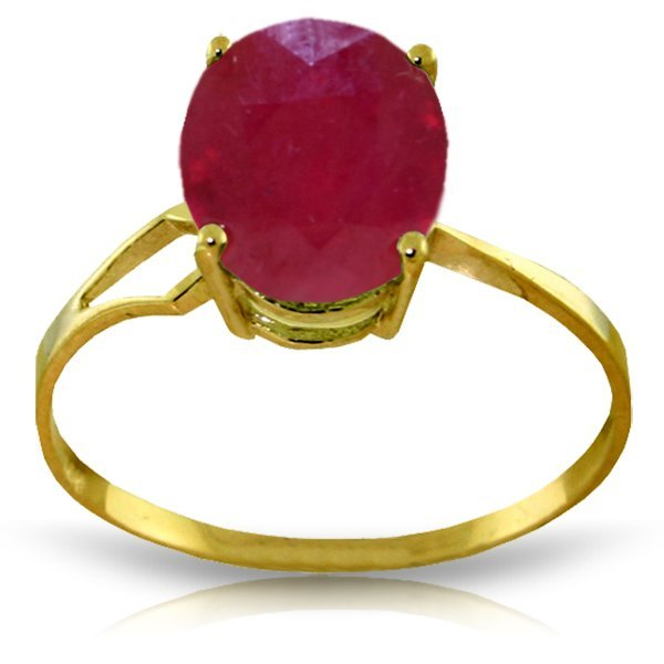 14K Solid Gold 3.5ct Oval Ruby Ring