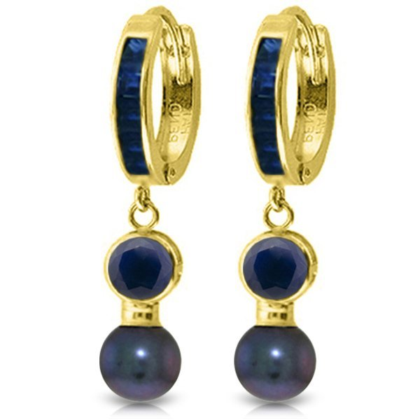 14K Solid Gold 2.0ct Pearl & Sapphires Huggie Earring