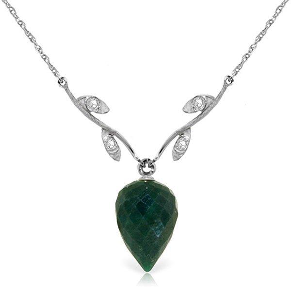 14K White Gold 12.9ct Emerald & .02ct Diaomnd Necklace