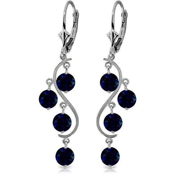 14k WG 4.00ct ROUND Sapphire Chandelier Earrings