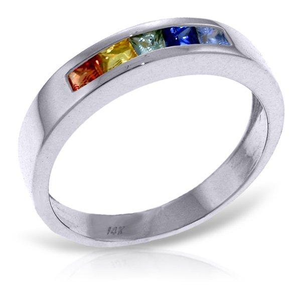 14K White Gold .60ct Princess Multi Color Sapphire Ring