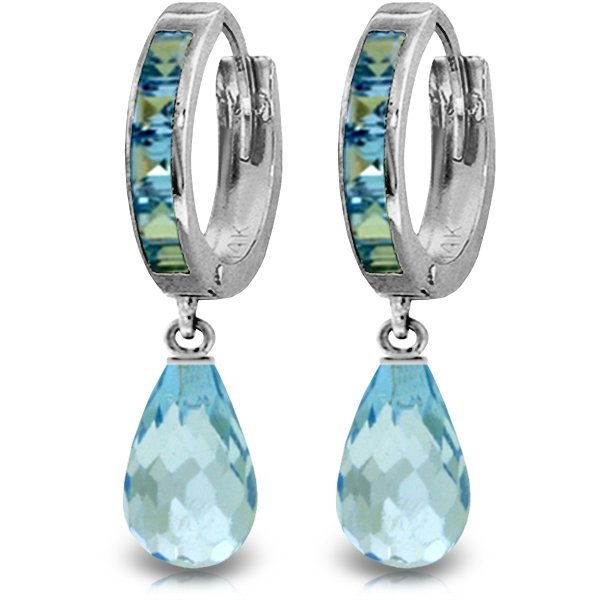14K White Gold 4.50ct & .85ct Blue Topaz Hoop Earring