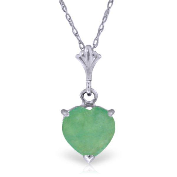 14k WG 1.20ct Emerald Heart Necklace