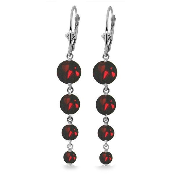 14k WG Garnet Long Chandelier Earrings