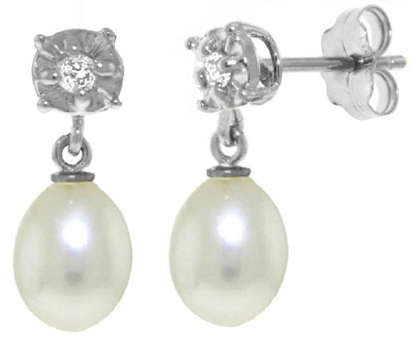 14k Freshwater Pearl Earrings with Diamond Accent