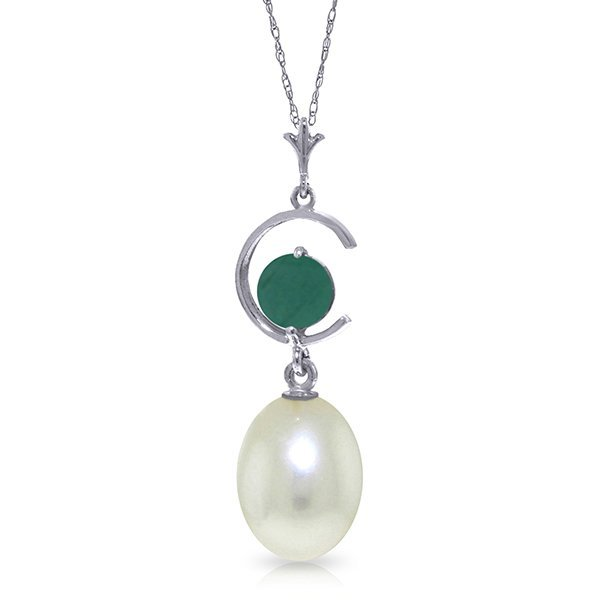 14k WG 0.50ct Emerald & Pearl Necklace
