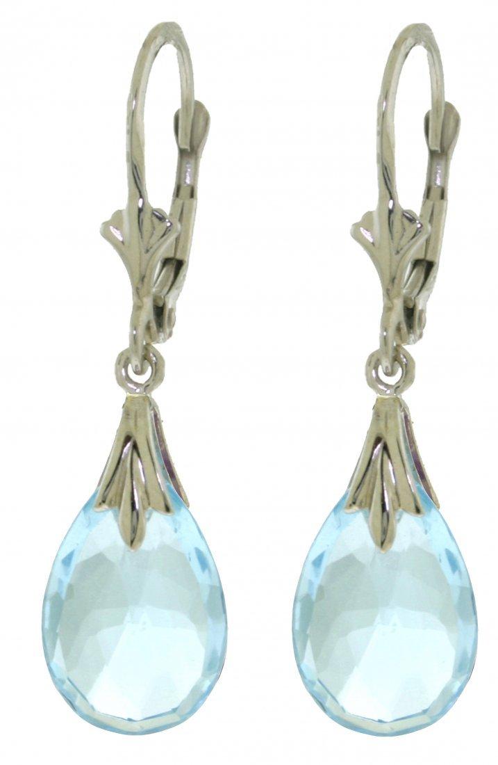14k Gold 6.0ct Blue Topaz Dangle Earrings