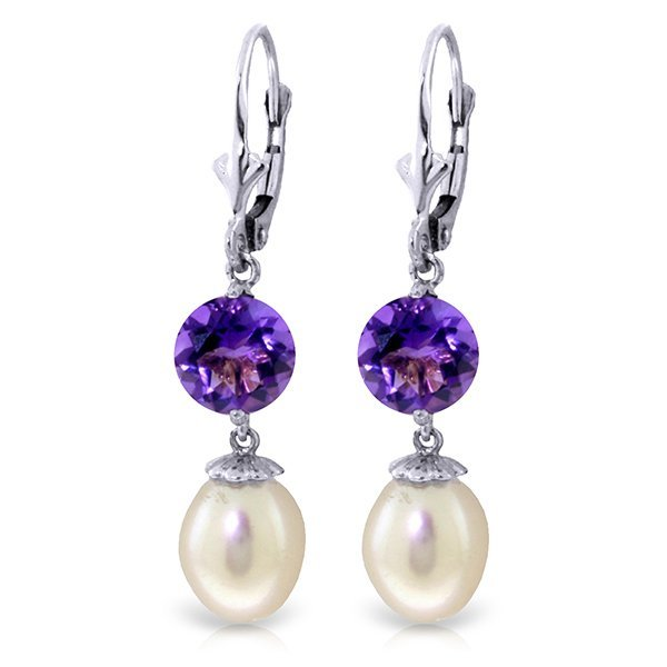 14k WG 3.10ct Amethyst & Pearl Dangle Earrings