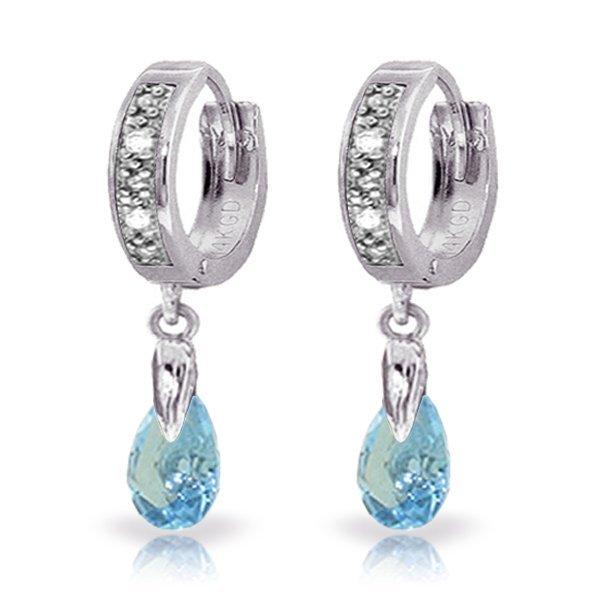 14k WG 1.35ct Blue Topaz & Diamond Earrings