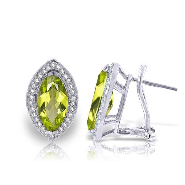 14K White Gold 4.0ct Marquis Peridot & Diamond Earring