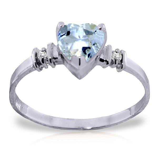 14k Solid Gold 0.95ct Aquamarine & Diamond Ring