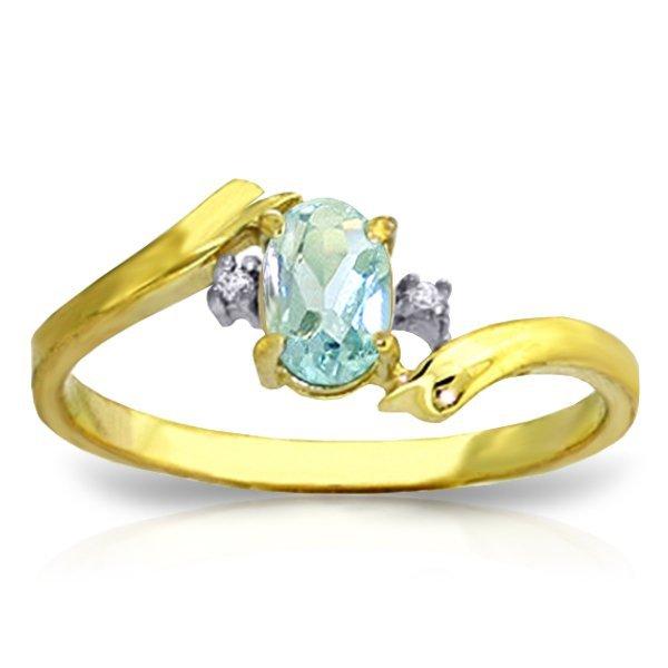 14K YG .01ct DIAMOND & 0.45ct OVAL AQUAMARINE RING