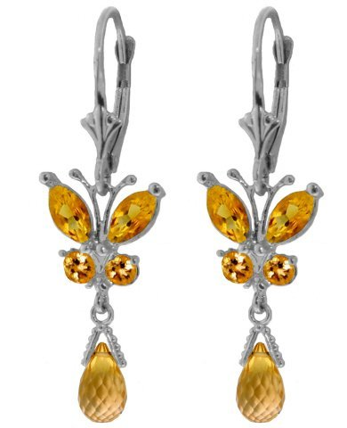 14k Solid Gold Citrine Butterfly Earrings