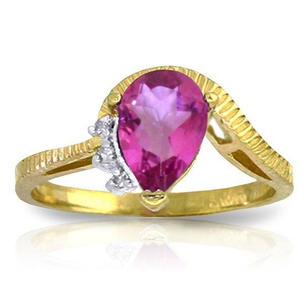 14K Y. GOLD .02ct DIAMOND & 1.50ct PINK TOPAZ RING