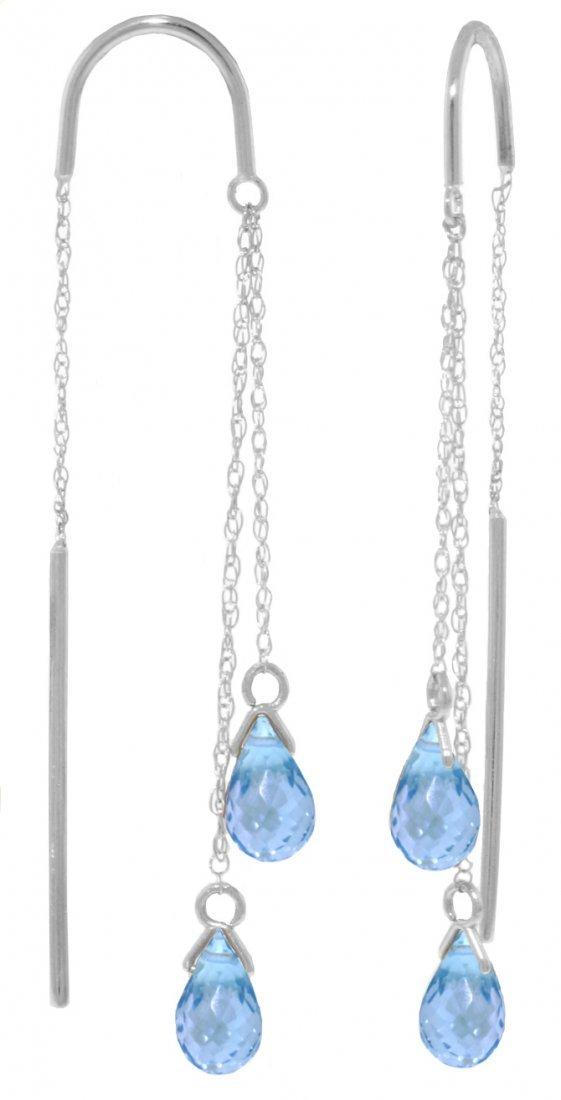 14k White Gold Blue Topaz Threaded Earrings
