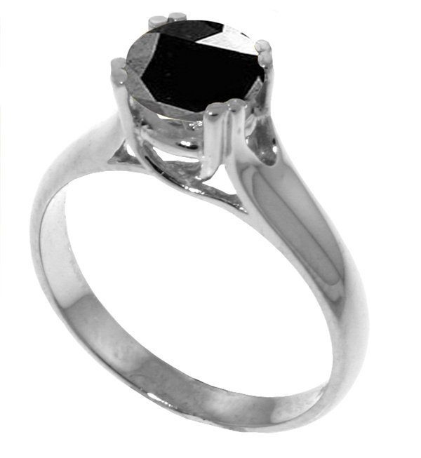 1.00ct Black Diamond Solitaire Ring in 14k Gold