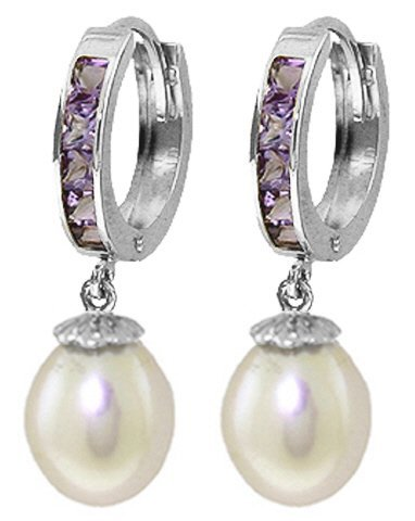 14K White Gold 8.00ct Pearl & 1.30ct Amethyst Earring