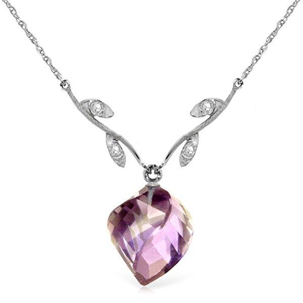 14k WG 10.75ct Amethyst & Diamond Necklace