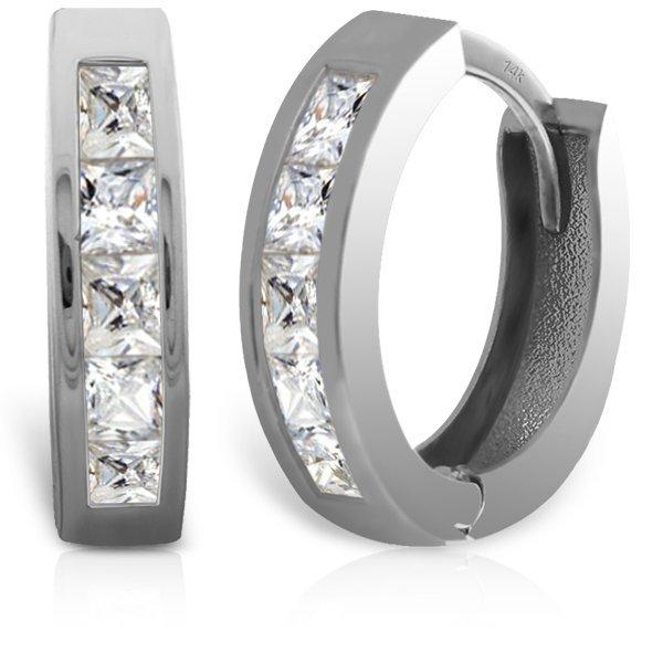 14k Solid Gold Princess Cut Diamond Huggie Earrings