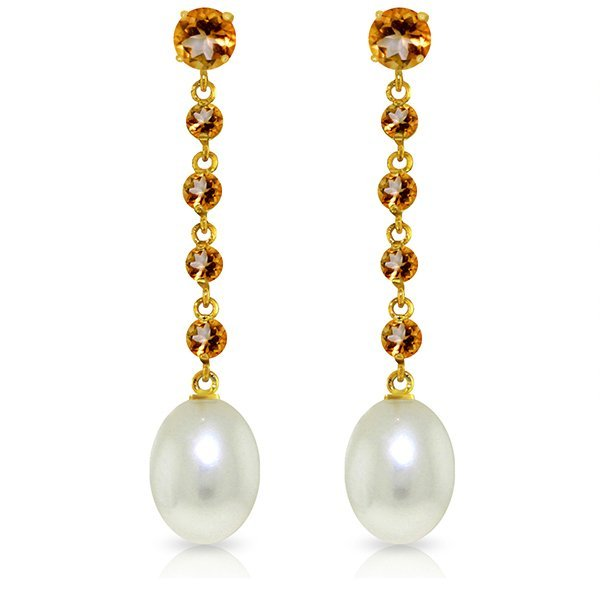 14k Yellow Gold Citrine & Pearl Drop Earrings