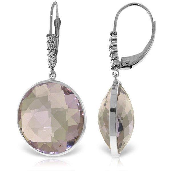 14K White Gold 36.0ct Amethyst & .15ct Diamond Earring