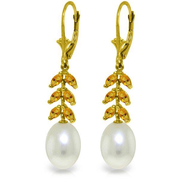 14k Yellow Gold Citrine & Pearl Fancy Earrings