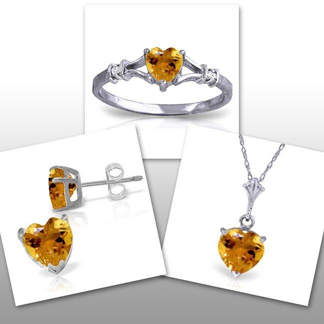 14K White Gold Set of Citrine w/ Diaomond Fine Jewelry
