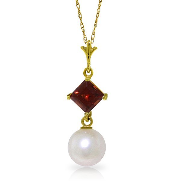 14k Yellow Gold 0.50ct Garnet & Pearl Necklace