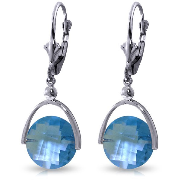 14k Solid Gold 6.50ct Blue Topaz Earrings