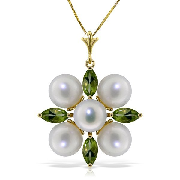 14k YG Clustered 5.0ct Pearl & 1.30ct Peridot Necklace