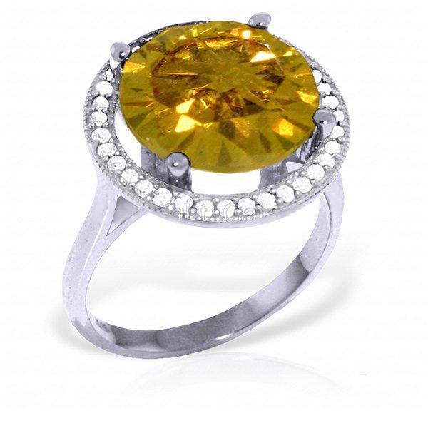 14K White Gold 6.0ct Citrine & Diamond Ring