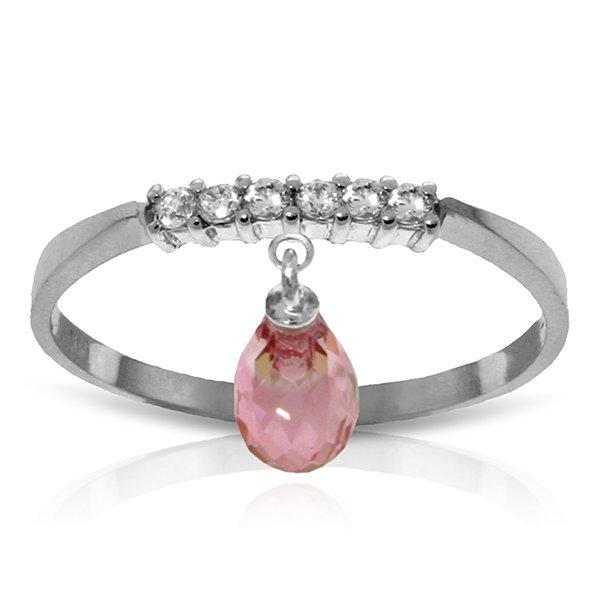 14k Solid Gold 1.35ct Pink Topaz & Diamonds Ring