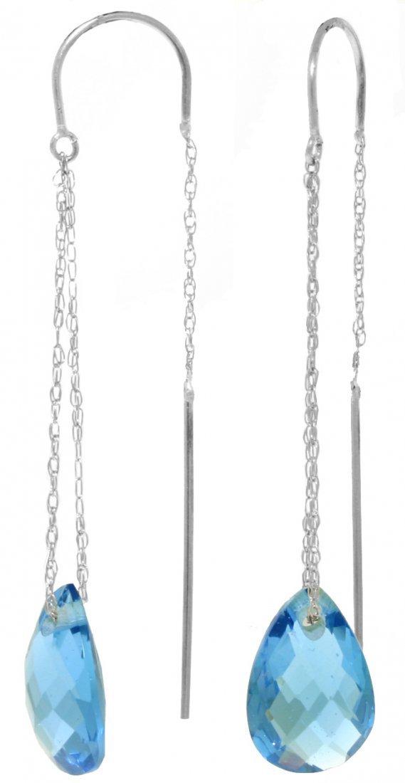 14k 6.0ct Briolette Blue Topaz Threaded Earrings