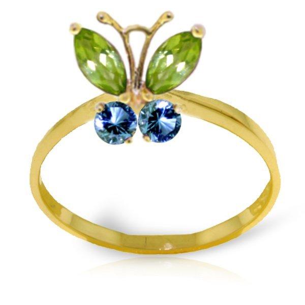 .40ct Peridot & .20ct Blue Topaz Butterfly Ring in 14k