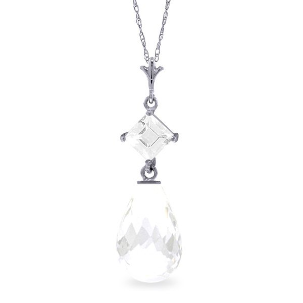 14k White Gold Necklace with White Topaz
