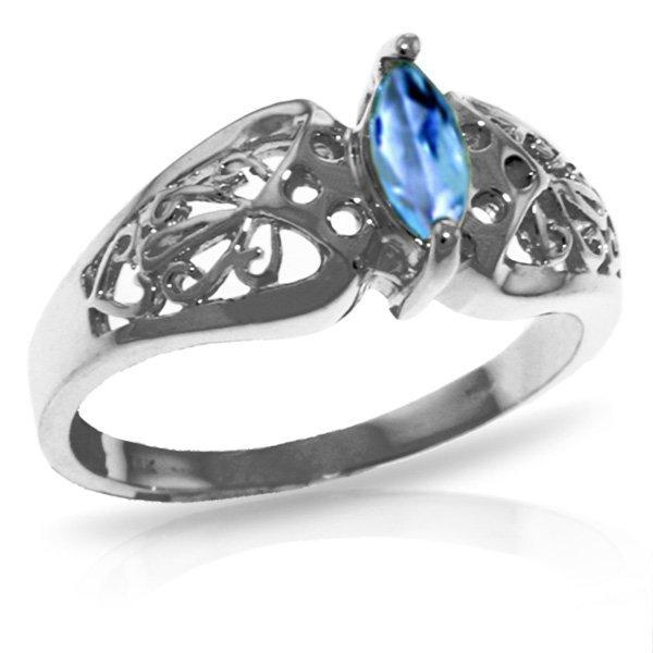 14K White Gold .20ct Blue Topaz FILIGREE Ring