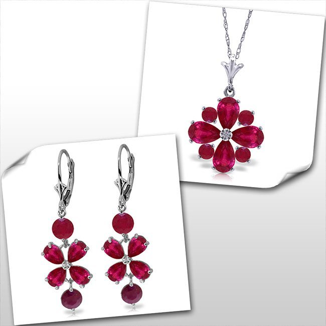 14K White Gold Set of Flower Ruby Fine Jewelry (2)
