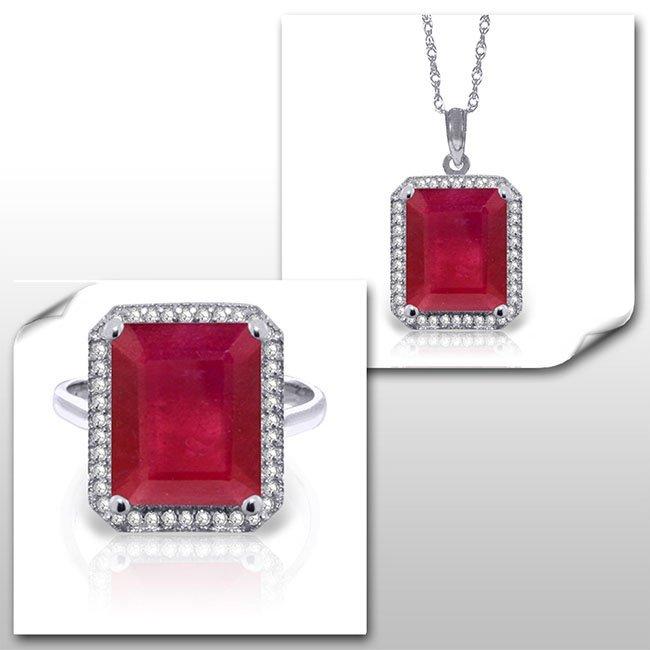14K White Gold Set Ruby & Diamond Fine Jewelry (2)
