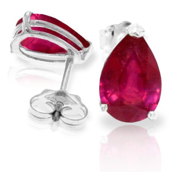3.50ct Ruby Teardrop Stud Earrings in 14k WHITE GOLD