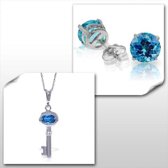 14K White Gold Set of Blue Topaz Fine Jewelry (2)