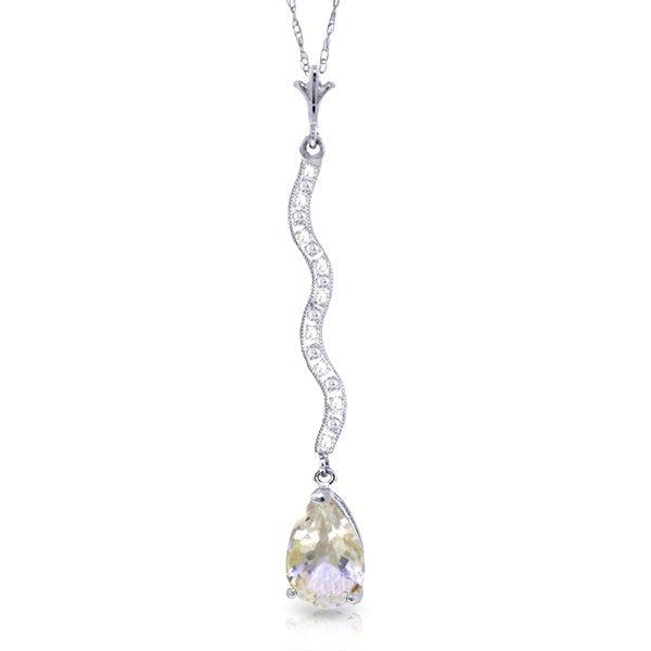 14K White Gold 1.75ct White Topaz & Diamond Necklace