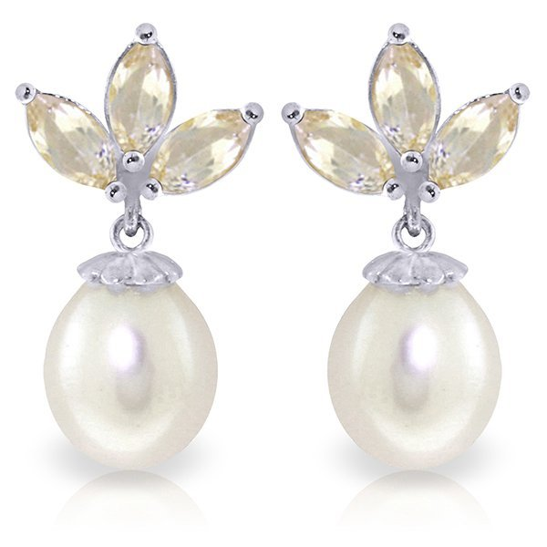 14k WG Pearl & 1.50ct White Topaz Earrings