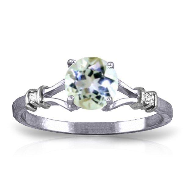 14k WG 1.0ct Aquamarine & Diamond Ring