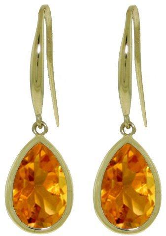14k Gold Citrine Teardrop Fish Hook Earrings