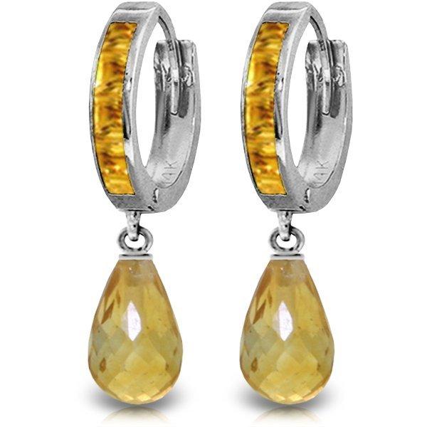 14K White Gold 4.50ct & .85ct Citrine Hoop Earring