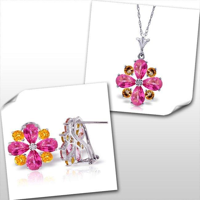 14K White Gold Set of Pink Topaz & Citrine Fine Jewelry