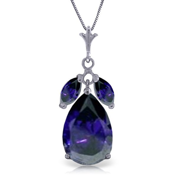 14K White Gold 4.65ct & .50ct Sapphires Necklace