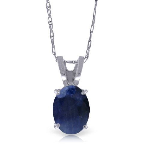 14k White Gold 1.0ct Oval Sapphire Necklace
