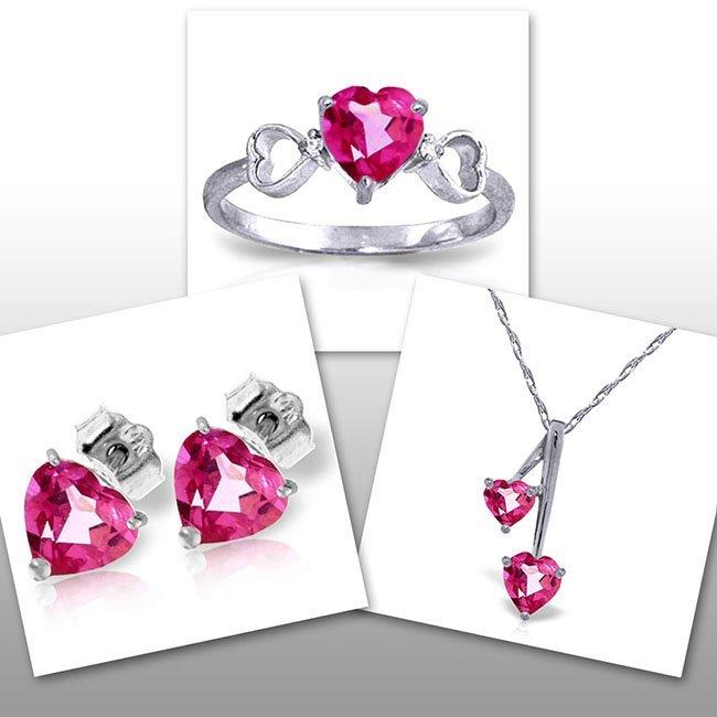 14K White Gold Set of Pink Topaz & Diamond Fine
